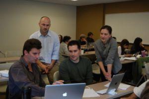 Wikipedia Ambassadors work with Professor Aaron Frank's class at the University of San Francisco.