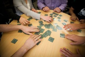 Wikimedia Foundation staff play the WikiProject Protected Areas memory game at the Foundation offices in San Francisco. Photo: Matthew Roth, Wikimedia Commons