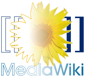 The logo of MediaWiki (a yellow sunflower surrounded by two pairs of blue square brackets) with gradients symbolizing its coming to age for the next version