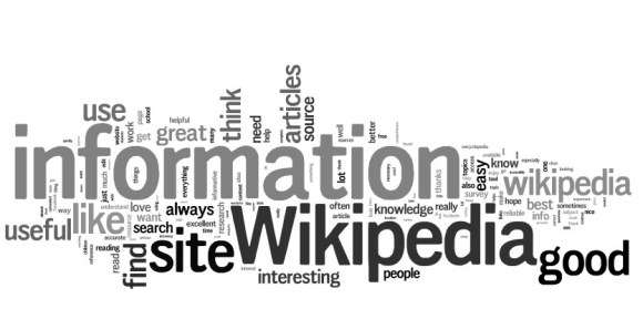 Tag cloud of open ended response from Wikipedia Readers Survey