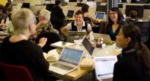 Editing Wikipedia entries as part of the WikiWomen's History Edit-a-thon in San Francisco. Photo: Steven Walling, CC-BY-SA