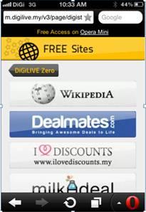 Shortcut to Wikipedia Zero on Digi's portal