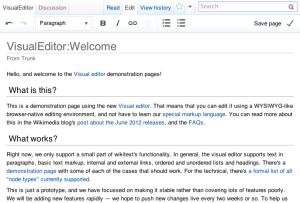 A screenshot of the new visual editor