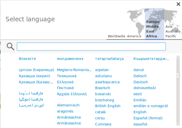 Languages are grouped by writing system.