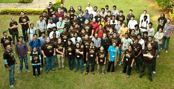 Group photo on the lawn of the IIM Bangalore.