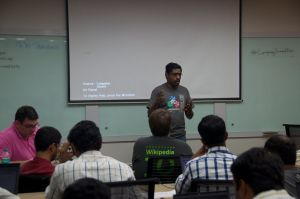 Santhosh Thottingal presenting his talk on jquery.ime