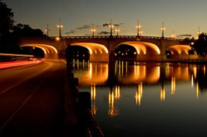 The bank street bridge over the Rideau canal at sunset