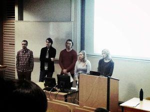Wikimedia Sverige members at a talk on Wikipedia.