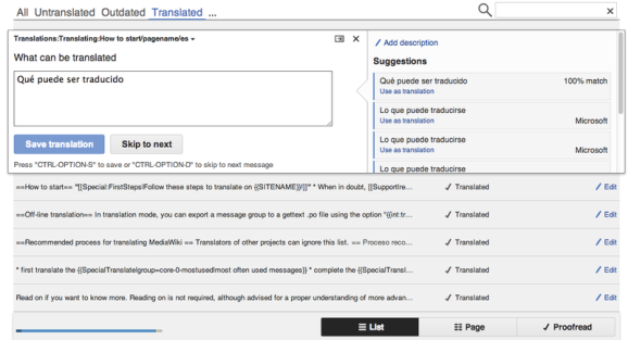Translate UX main editor screen with Spanish translations in List view