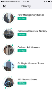 Screenshot of the Nearby feature in the Wikipedia iOS App.
