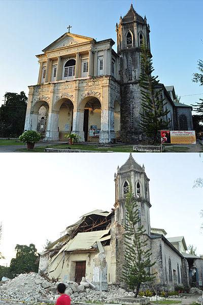 """Assunta de la Nuestra Sra. Parish Church, Dauis, Bohol (Before and After 2013 Bohol Earthquake)"" by Joelaldor, under CC BY-SA 4.0"