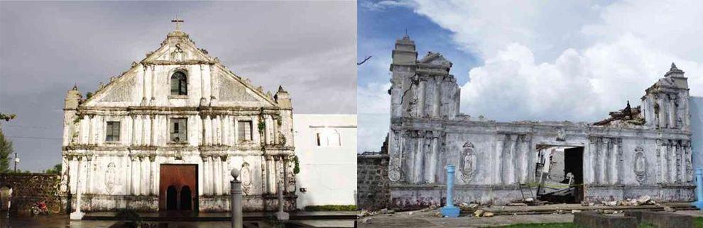 """""""Inmaculada Concepcion Parish Church, Guiuan, Eastern Samar (Before and After 2013 Typhoon Haiyan)"""" by Joelaldor, under CC BY-SA 4.0"""
