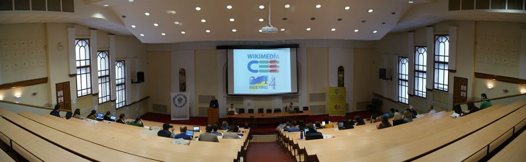 """The main hall at the Wikimedia Central and Eastern European Meeting 2014 in Kyiv, Ukraine.""""Main Hall Panorama"""" by Taras r, under CC-BY-SA-4.0"""