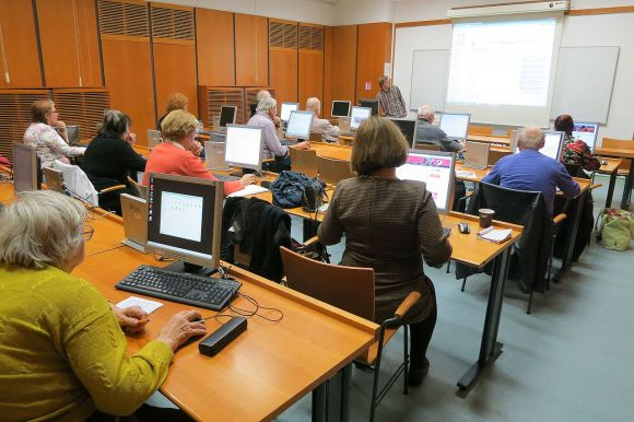 """Senior citizens learn to edit Wikipedia in special classes held in Prague's Municipal Library"" photo by Pavla Pelikánová, licensed under CC-BY-SA-4.0."