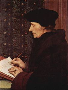 Desiderius Erasmus was a renowned humanist, scholar and theologian. Erasmus portrait by Hans Holbein, from Le Musée du Louvre and The Yorck Project. Public Domain.