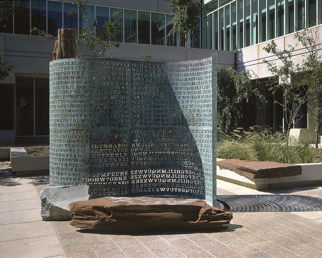 Kryptos is an encrypted sculpture at CIA headquarters in Langley, Virginia. Photo by Jim Sanborn, free licensed under  CC BY-SA 3.0.