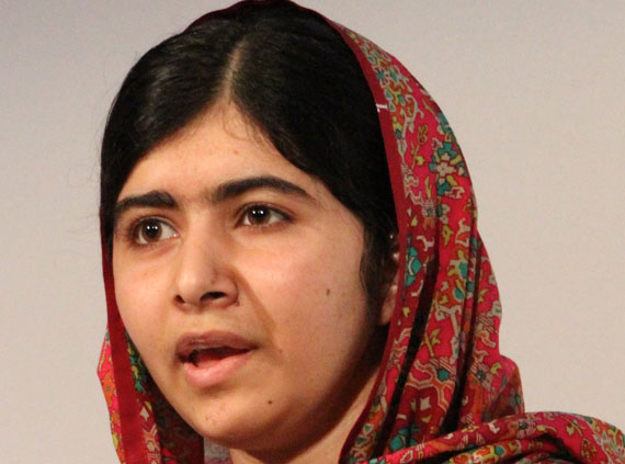 Malala Yousafzai is one of the inspiring women recommended by our community for this month's search for high-quality women's biographies. The youngest-ever Nobel Prize laureate, she is a human rights advocate for education and for women in Pakistan.  Photo by Russell Watkins, CC-BY-SA-2.0.