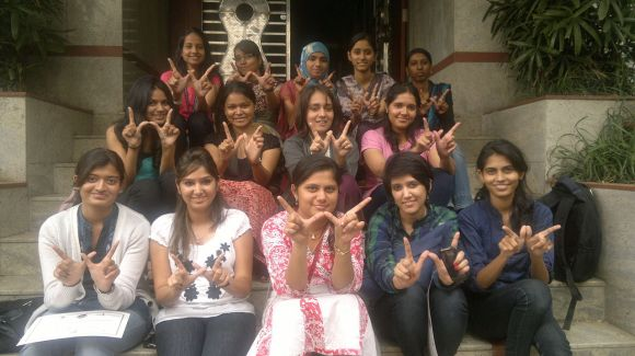 """Women gather for """"WikiWomen Day"""" in Pune, India, to help each other contribute to Wikipedia and increase gender diversity in Wikimedia projects. Photo by Abhishek Suryawanshi, licensed under CC-BY-SA-3.0."""