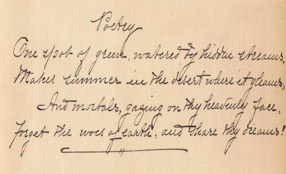 """Autograph verse of """"Poetry"""" by Florence Earle Coates. Subsequently published as """"To the Muse."""" Scan, public domain/CC0."""