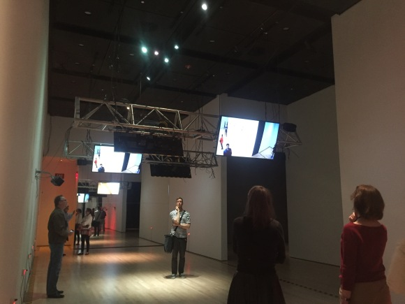 """Inside the installation piece """"Predictive Engineering³"""" at SF MoMA."""