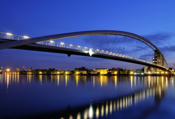The Three Countries Bridge is located between France, Germany, and Switzerland. Photo by Wladyslaw, CC BY-SA 3.0.