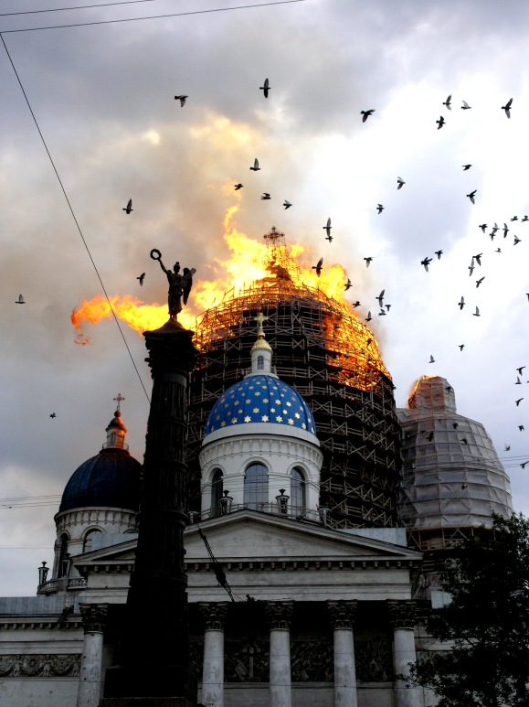 The dome atop Russia's Trinity Cathedral collapsed after a major 2006 fire; only a massive investment in rebuilding the structure prevented it from suffering from the same fate as Yaroslavenko's house. Wiki Loves Monuments has photos documenting the fire and its post-restored condition. Photo by Олег Сыромятников, CC BY-SA 3.0.