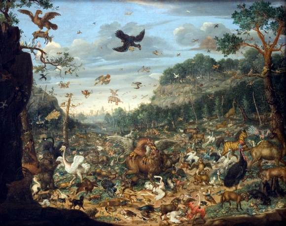 1690 painting, featuring two formerly unnoticed white dodos discovered through Wikipedia research. Painting by Franz Rösel von Rosenhof, public domain/CC0.