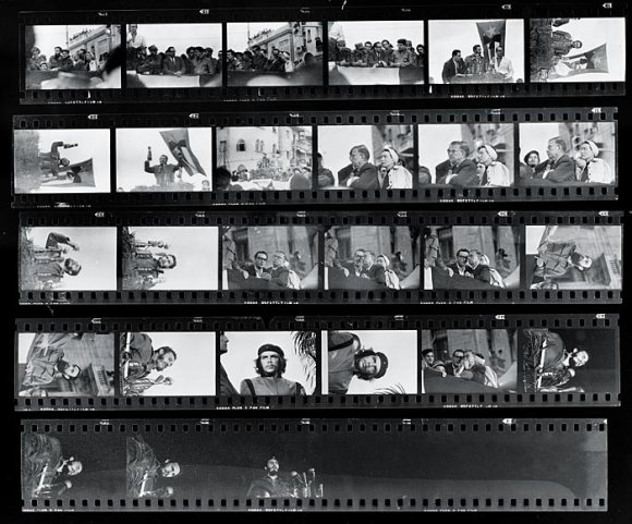 Alberto Korda's full roll of film shot at a March 5, 1960 memorial service, after a freighter exploded in Havana Harbor. Photos by Alberto Korda, public domain/CC0.