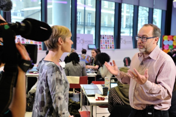 Jimmy Wales, founder of Wikipedia, being interviewed at BBC 100 Women. Photo by the BBC/Henry Iddon via Wikimedia UK, CC BY-SA 3.0.