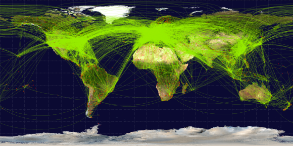 Map of scheduled airline traffic around the world, c. June 2009. Image by Jpatokal, CC BY-SA 3.0.