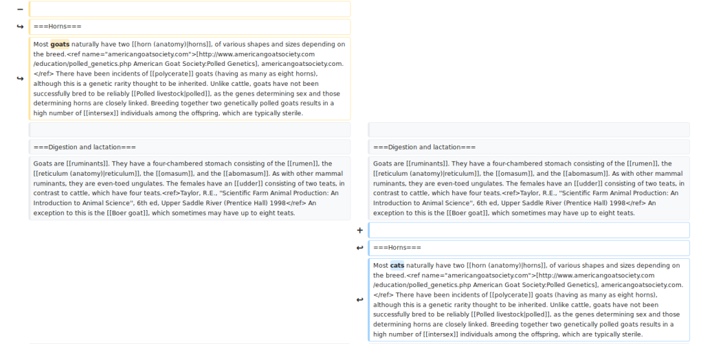 """Screenshot of the Wikipedia """"diff"""" resulting from moving an entire paragraph. Individual words changed in that paragraph are now highlighted for further inspection."""
