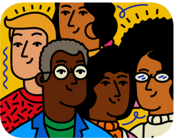 An illustration of 5 people from around the world