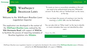screenshot of WikiProject Brazilian Laws Legislation Importer homepage on Toolforge