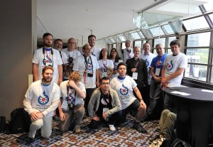 Wikimania photographers in Commons shirts Sheraton 4th Fl jeh